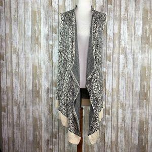 UO Ecote Sleeveless Long Draped Open Cardigan Sz L